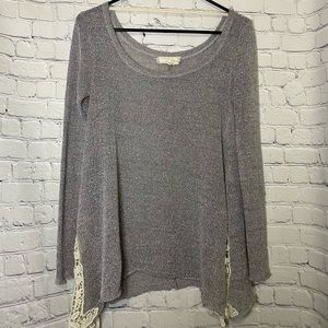 A'reve Silver Sweater with Crochet Lace Trim S